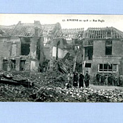 Postcard of 1918 Destruction by German Bombs of Amiens, France