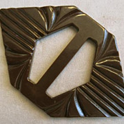 SALE Carved Brown Bakelite Buckle, Art Deco Style