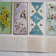 REDUCED Four Cute Vintage Greeting Cards with Envelopes, Unused and Very Cute