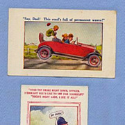 Pair of Postcards from Bamforth Auto Comic Series, Artist Signed