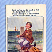 SOLD Comic Postcard � Man Praying for Large Fish, McGill Illustration