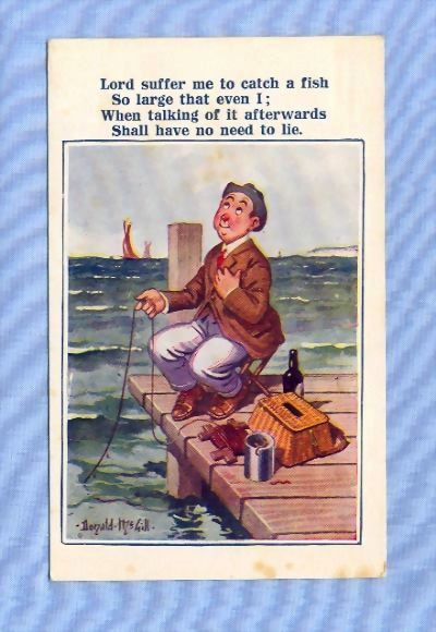 Comic Postcard – Man Praying for Large Fish, McGill Illustration