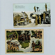Two Vintage Army Infantry and Artillery Postcards