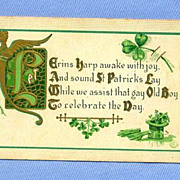 Irish St. Patrick�s Day Postcard with Shamrock, Top Hat and Harp, 1911