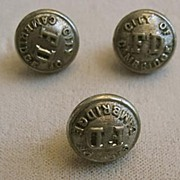 REDUCED Set of Three Fire Department Buttons, Cambridge Massachusetts