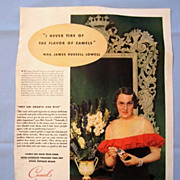 1934 Magazine Ad Page for Camels Cigarettes, Chipso Soap on Reverse