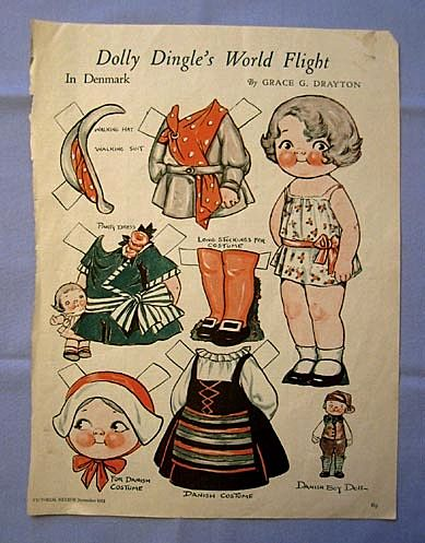 Dolly Dingle in Denmark - Paper Doll on 1932 Magazine Page