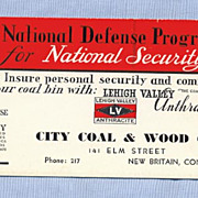 Advertising Ink Blotter for City Coal � National Defense 1940s