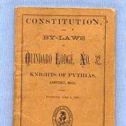 SALE Knights of Pythias Lodge, Massachusetts, 1871 Constitution and By-Laws