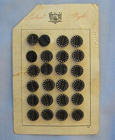 "Glittery Set of 24 Vintage Buttons – Original ""Latest Style"" Card"