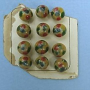 SALE Cute Round Wooden Buttons, Spatter-Painted Red, Blue and Green