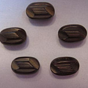 REDUCED Buttons - Art Deco Carved Brown Bakelite � Set of Five