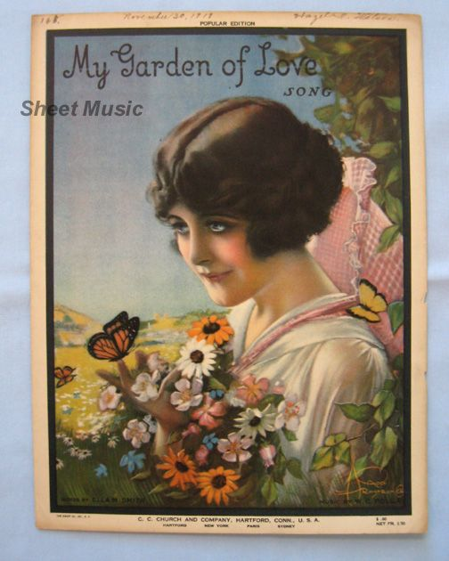 """My Garden of Love"" – Romantic Cover Girl by Artist Armstrong, 1919"