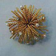 SALE Pretty Starburst Brooch from Austria - Faux Pearl and Rhinestone Accents