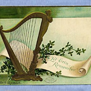 St. Patrick�s Day Greeting Postcard, Irish Harp by Ellen Clapsaddle