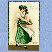 St. Patrick�s Day Postcard, Ellen Clapsaddle Illustration of Pretty Girl