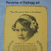 SALE Kelloggs Toasted Corn Flakes Ad, Fairy Soap on Reverse, Circa 1912