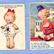 SALE Cute Toddler on Two Comic Illustration Postcards, by Artist D. Tempest, 1934