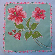 Big Pink Flowers and Green Leaves on a Blue Handkerchief � Crocheted Edging
