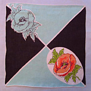 Attractive Handkerchief - Diagonal Design with Poppies
