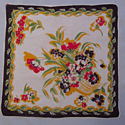 Colorful Handkerchief with Design of Basket of Flowers