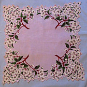 Mauve Handkerchief with Dogwood Tree Design, Edgy Border
