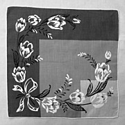 Dramatic Handkerchief � Geometric Shades of Grey with White Flowers