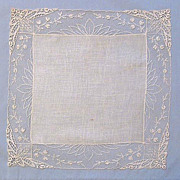 Bride�s White Linen Handkerchief � Floral Lace Border
