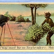 SALE 1913 Comic Postcard, Photographer and Black Girl, 'September Morn' Art Reference