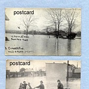 REDUCED Two Postcards of Columbus Ohio Flood Rescues, March 1913