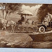Comic Postcard � Auto Stuck Behind Horse and Wagon, 1909, by Sheahan