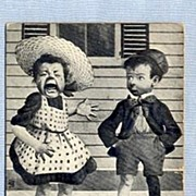 Cute Postcard � Crying Girl and Puzzled Boy, by Sheahan