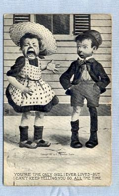 Cute Postcard – Crying Girl and Puzzled Boy, by Sheahan