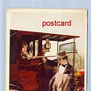 REDUCED Early Postcard � Woman in Auto with Butterfly Net
