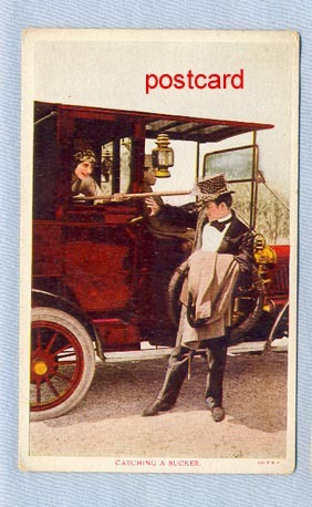 Early Postcard – Woman in Auto with Butterfly Net