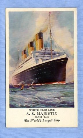 White Star Ocean Liner 'Majestic' – Beautiful Illustration of Great Ship