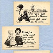 SOLD Cute Dutch Kids on Set of Three Postcards, by Artist Bernhardt Wall