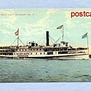Chrome Postcard of Mount Hope Steamer in Narragansett Bay, RI, 1940s