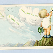 Sweet Postcard of Cute Little Boy Painting the Clouds, Twelvetrees Illustration