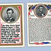 REDUCED Pair of Abraham Lincoln Commemorative Postcards by Sheahan, 1908