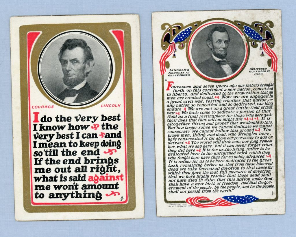 Pair of Abraham Lincoln Commemorative Postcards by Sheahan, 1908