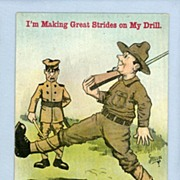 Comic Military Postcard -  Marching Soldier, Artist Signed