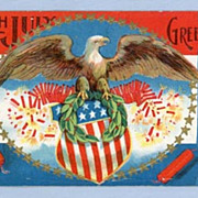 Fourth of July Postcard � Eagle on Shield with Firecrackers, 1912