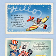 SOLD Two Military Postcards  Congratulations with a Comic Touch
