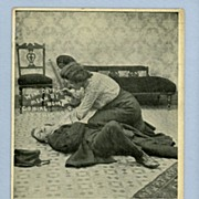 Comic Postcard -  Domestic Fight with Rolling Pin, Circa 1910