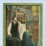 REDUCED Flirtatious Couple in Kitchen on Comic Postcard, Circa 1910