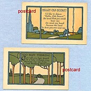 Postcard Pair � Arts and Crafts Tiles Landscapes, Circa 1910