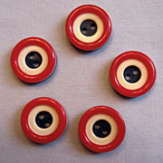 Red, White and Blue Buttons � Three Layers of Patriotic Color - Set of Five