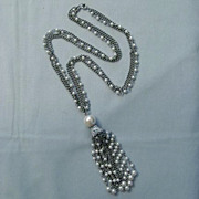SALE Multi-Strand Necklace with Tassel, Chains and Faux Pearl Beads