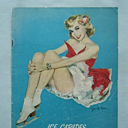 Ice Capades 1951 Program Magazine, Sweet Pin-Up Cover by Artist Joe De Mers